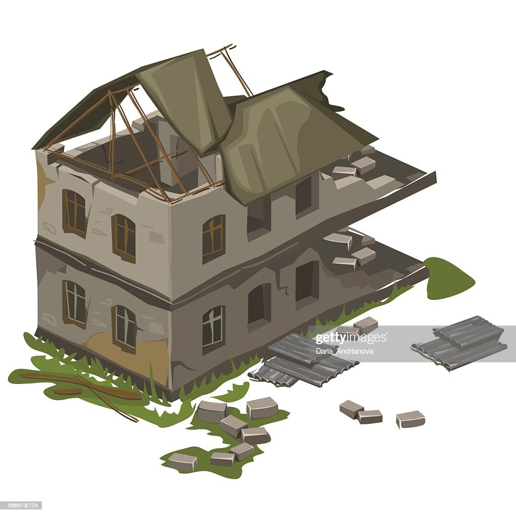 One two-storey destroyed building, vector isolated