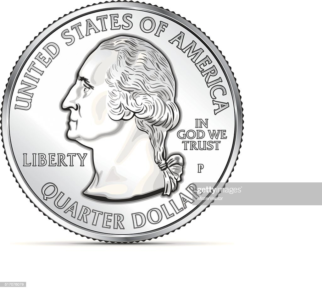 One US quarter coin depicting George Washington