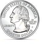 One US quarter coin depicting George Washington