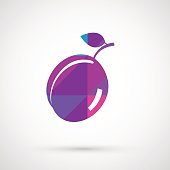 One vecor ripe fresh plum with leaf