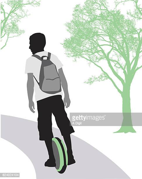 one wheel scooter transportation - unicycle stock illustrations, clip art, cartoons, & icons