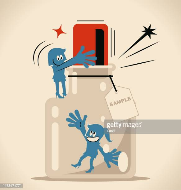 one woman helping another woman to escape from the confined space glass bottle with cork (airtight container) and label - cork stopper stock illustrations, clip art, cartoons, & icons