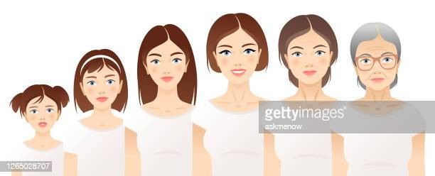 one woman in different age - aging process stock illustrations