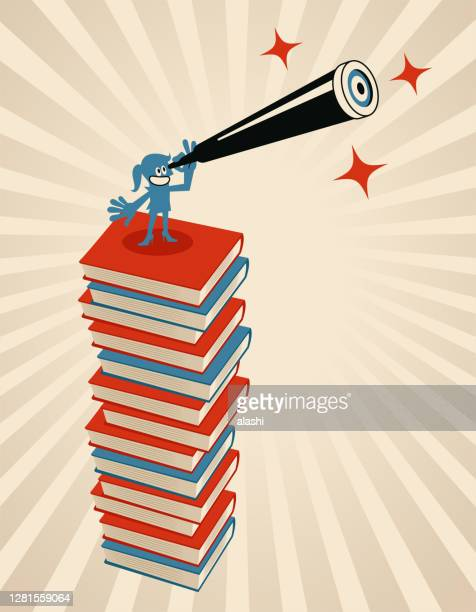 one woman is standing on a pile of books and looking through a hand-held telescope; never stop learning; to invest in yourself; taking learning a step further; knowledge is the power which helps move one step forward - one teenage girl only stock illustrations