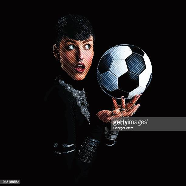 One woman soccer fan with surprised facial expression
