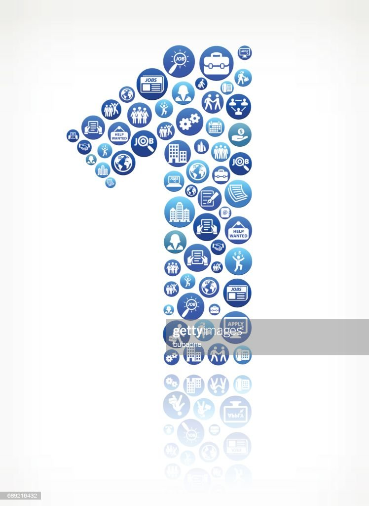 One Work and Employment Blue Vector Button Pattern : Stock Illustration