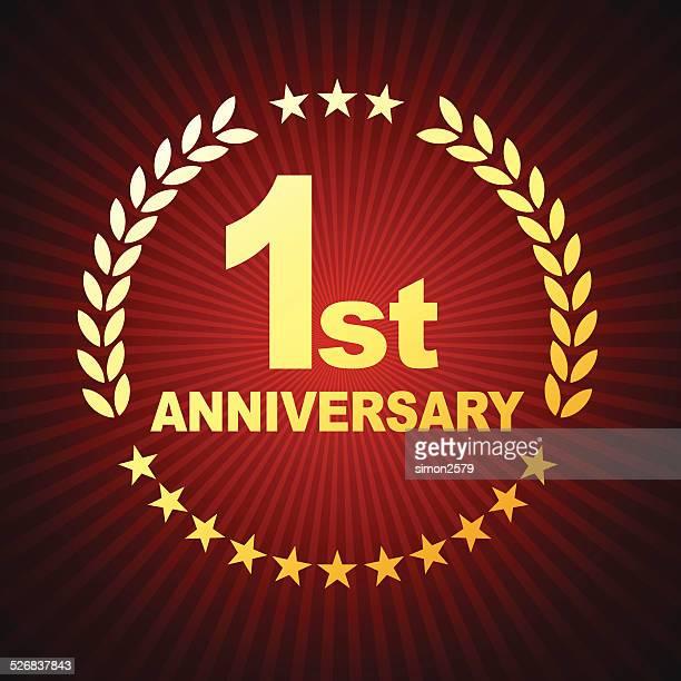 1 周年記念エンブレム - 1周年点のイラスト素材/クリップアート素材/マンガ素材/アイコン素材