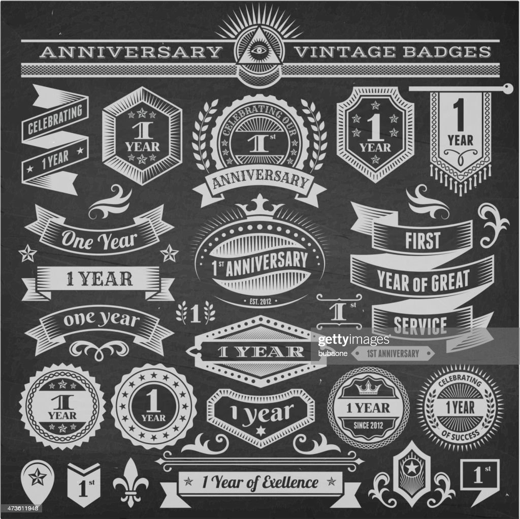 One year anniversary hand-drawn chalkboard royalty free vector background