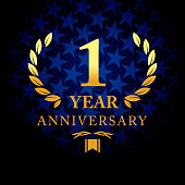 One year anniversary icon with blue color star shape background