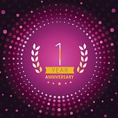 One year anniversary icon with purple color background