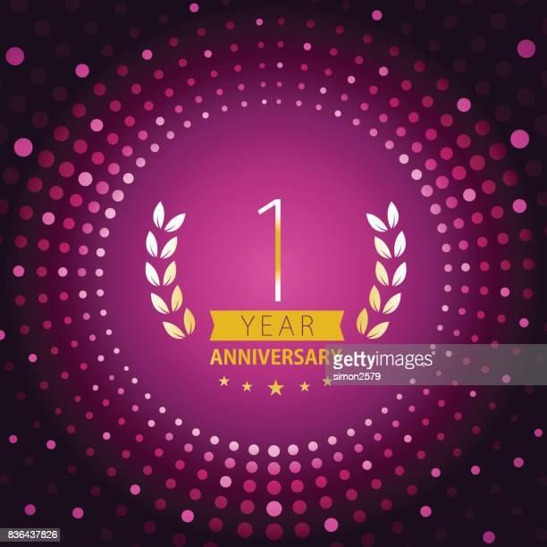 紫の色の背景を持つ 1 年周年記念アイコン - 1周年点のイラスト素材/クリップアート素材/マンガ素材/アイコン素材