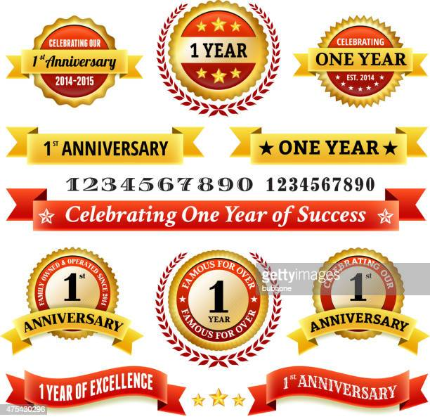 one year anniversary royalty free vector background with golden badges - one year anniversary stock illustrations