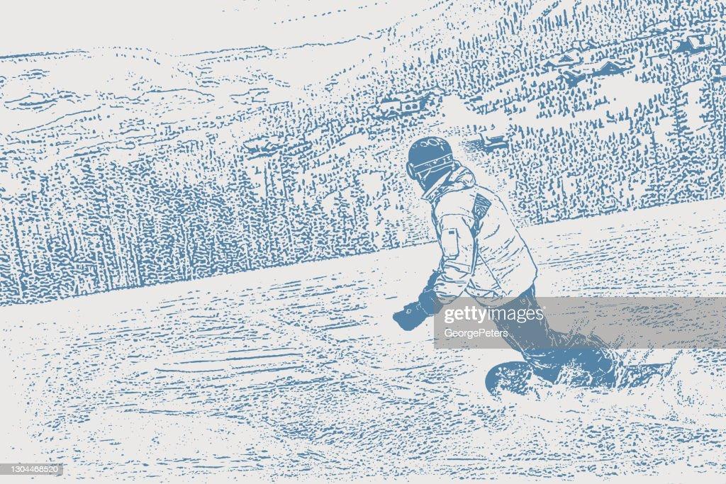 Un joven haciendo snowboard en una montaña de Montana : Ilustración de stock