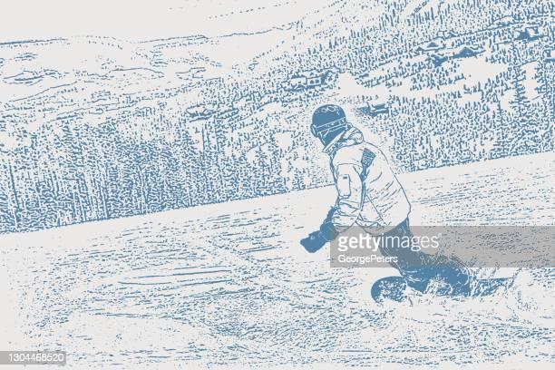 ilustraciones, imágenes clip art, dibujos animados e iconos de stock de un joven haciendo snowboard en una montaña de montana - winter sport