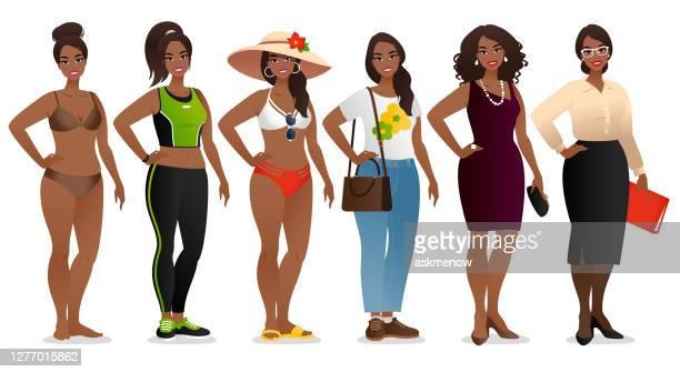 異なる服を着た一人の若い女性 - ナチュラルヘア点のイラスト素材/クリップアート素材/マンガ素材/アイコン素材