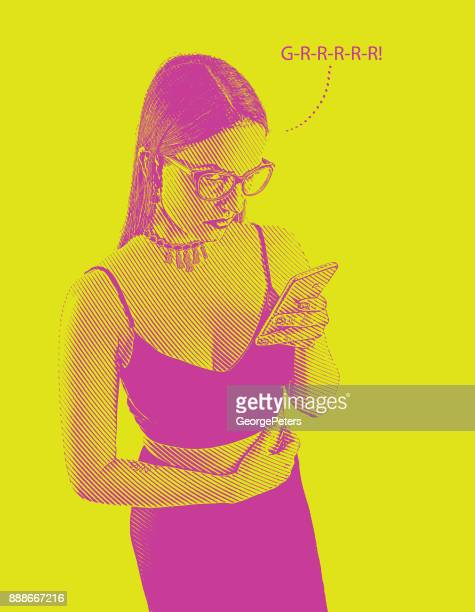 one young woman sending angry text on smart phone. - sexual harassment stock illustrations, clip art, cartoons, & icons