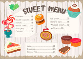 One-page menu for confectioneries, cafes