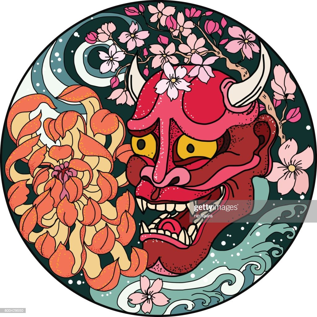 Oni mask with Sakura and Peony flower