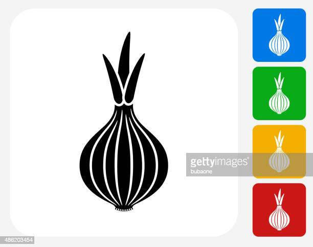 onion icon flat graphic design - onion stock illustrations, clip art, cartoons, & icons