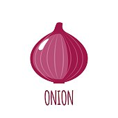 Onion icon in flat style on white background