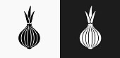 Onion Icon on Black and White Vector Backgrounds