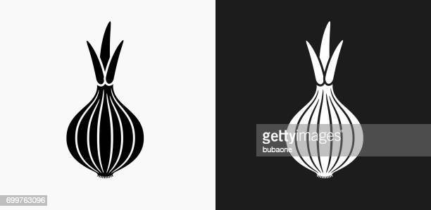 onion icon on black and white vector backgrounds - onion stock illustrations, clip art, cartoons, & icons