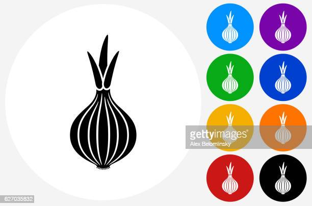 onion icon on flat color circle buttons - onion stock illustrations, clip art, cartoons, & icons