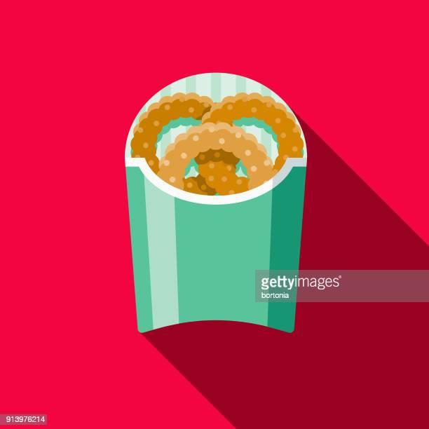 ilustrações, clipart, desenhos animados e ícones de anéis de cebola design plano fast-food ícone - frito