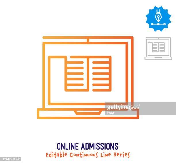 ilustrações, clipart, desenhos animados e ícones de ícone de traçado editável de linha contínua de admissões on-line - submita busca