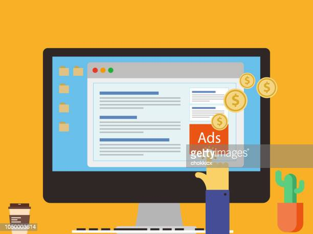 online ads - advertisement stock illustrations