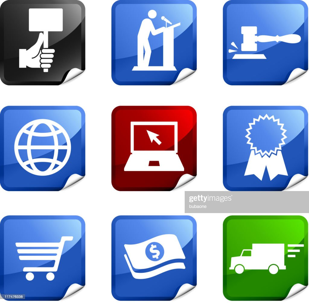 Online auction and e-commerce nine royalty free vector icon set