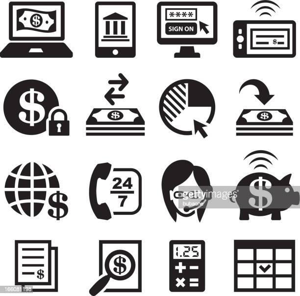 ilustrações, clipart, desenhos animados e ícones de atividade bancária on-line e finanças preto & branco, vector conjunto de ícones - reforma assunto