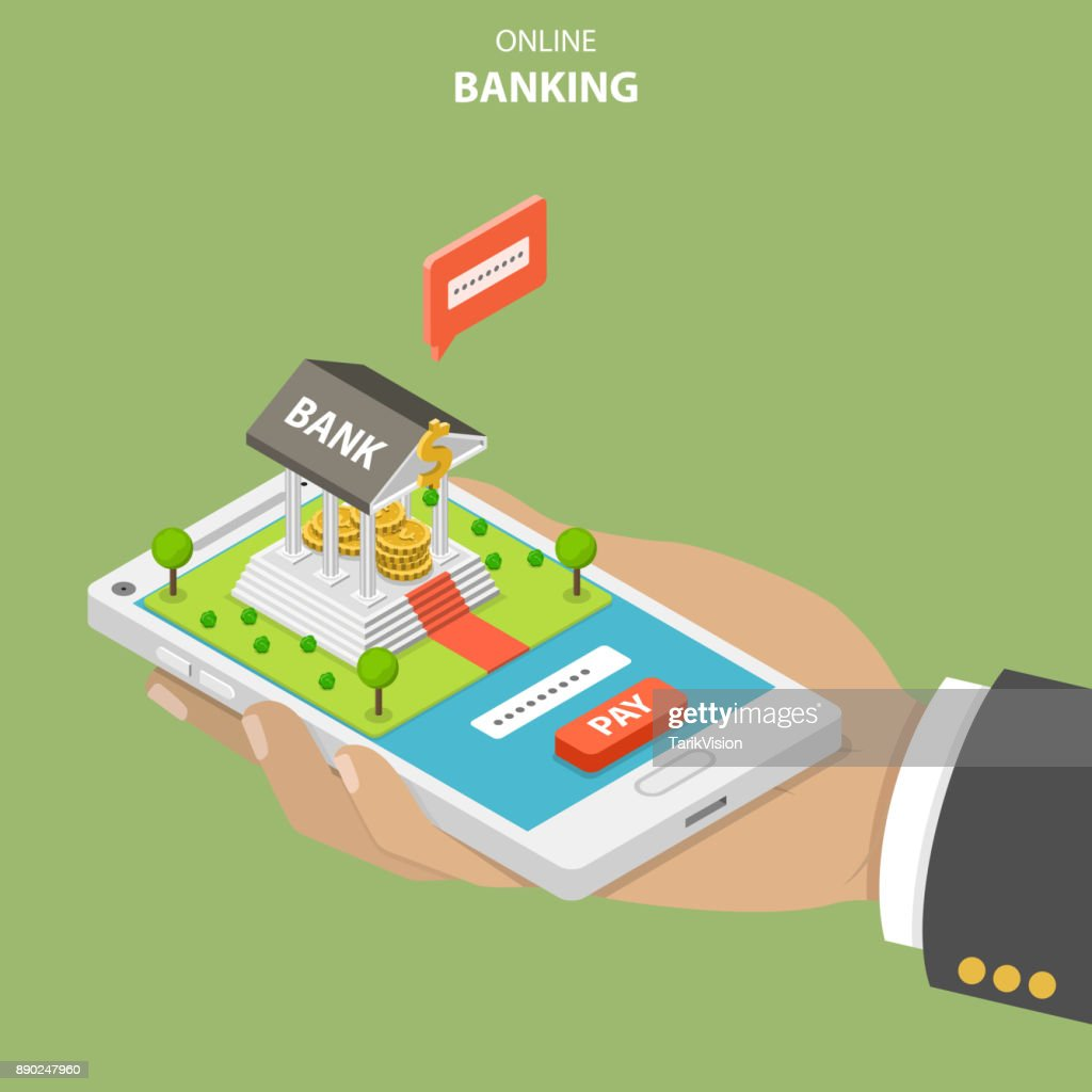 Online banking flat isometric vector concept.