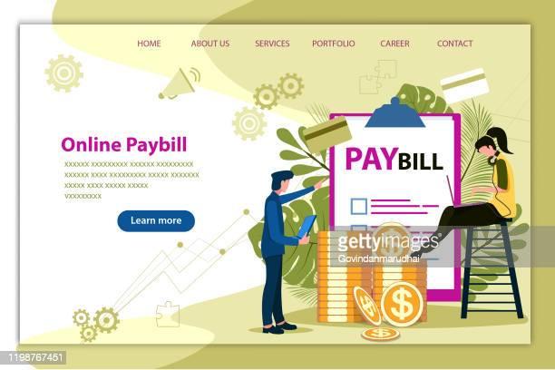 ilustraciones, imágenes clip art, dibujos animados e iconos de stock de pago de facturas en línea - impuestosobrelarenta
