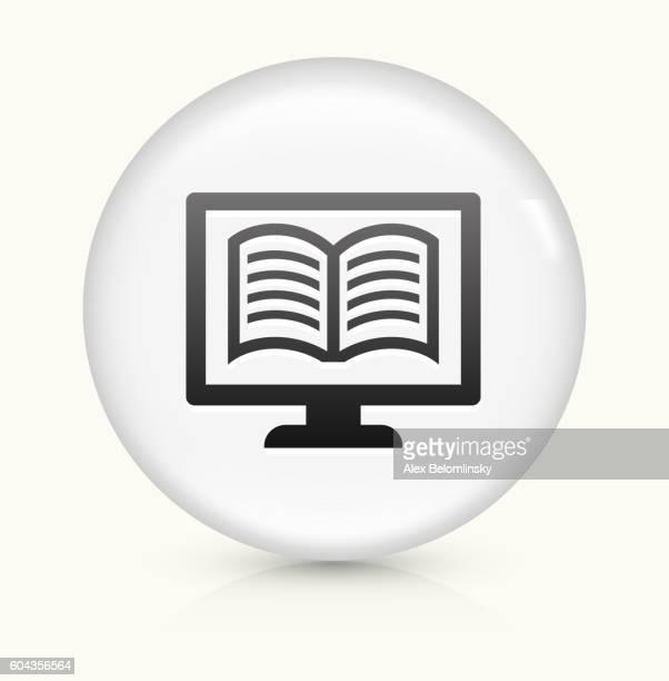 Online Book icon on white round vector button