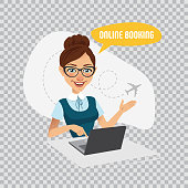 Online booking banner on transparent background.Air Tickets Online Booking. Woman sitting at table and selling tickets