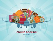 Online booking flat concept. Vector illustration.