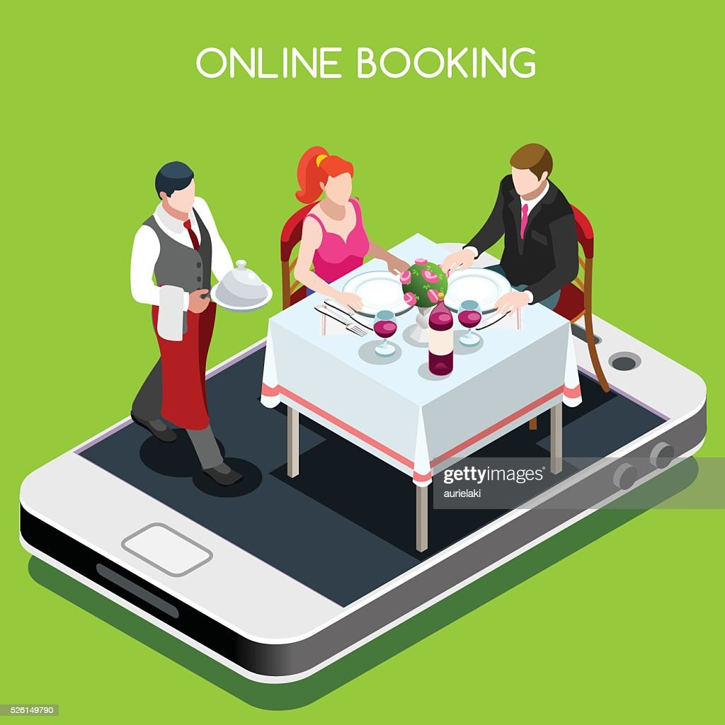 Online Booking Isometric People