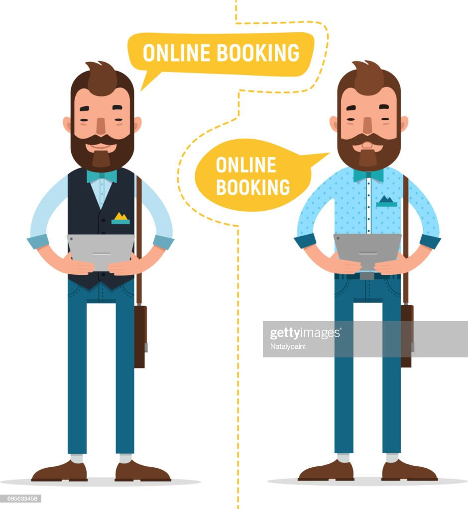 Online Booking. Man with tablet making online order, booking accommodation hostel, booking tickets for concert