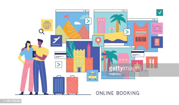 online booking - journey stock illustrations