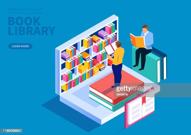 online bookshelf, online education courses, online training courses - library stock illustrations