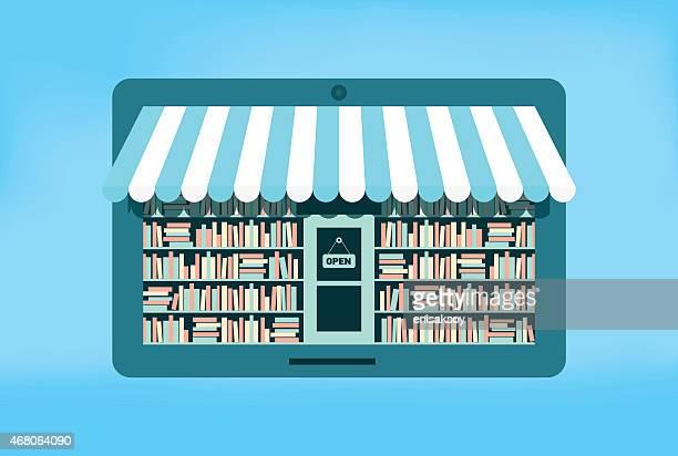 ilustrações, clipart, desenhos animados e ícones de livraria on-line - livraria