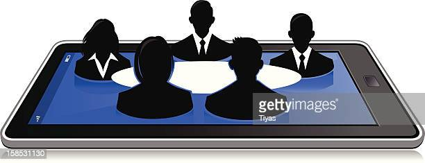 online business meeting - man blue background stock illustrations