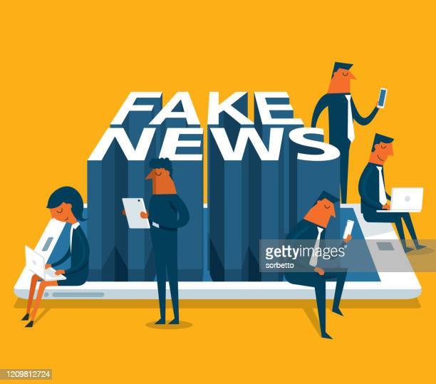 illustrations, cliparts, dessins animés et icônes de fake news - en ligne - business people - fake news