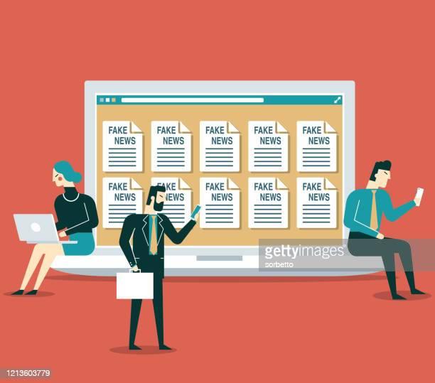 ilustrações, clipart, desenhos animados e ícones de fake news - online - pessoas de negócios - fake news