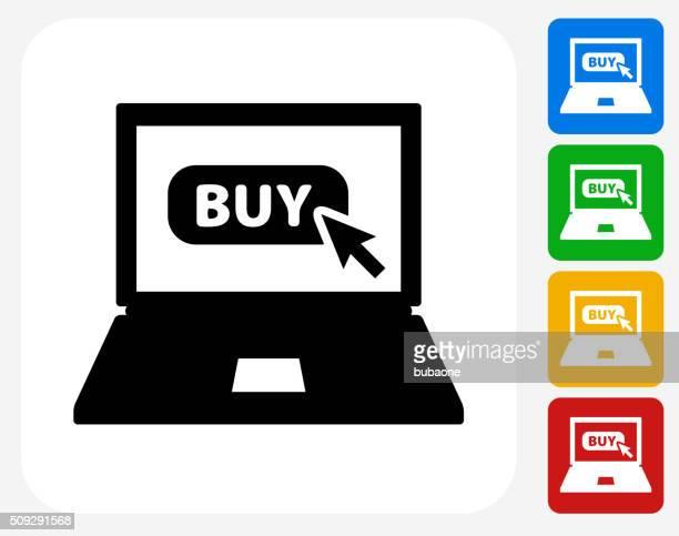 Online Buying Icon Flat Graphic Design