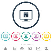 Online calendar flat color icons in round outlines