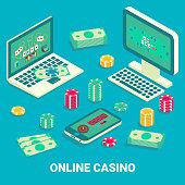 Online casino concept vector flat isometric illustration