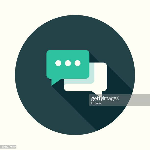online chat flat design communications icon with side shadow - long shadow design stock illustrations