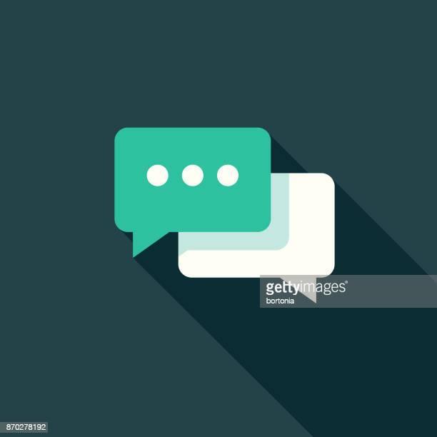 flaches design kommunikation symbol mit seite schatten im chat - sprechblase für internetchat stock-grafiken, -clipart, -cartoons und -symbole